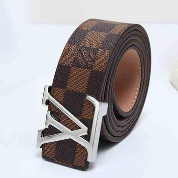 LV Louis Vuitton Fashion Leather Belt Men Women Utility Coffee(Silver buckle)