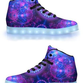 Blue & Pink Fractal - APP Controlled High Top LED Shoes