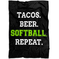 "Softball Fleece Blanket Small 40"" x 30"" Medium 60"" x 50"" Large 80"" x 60"" Ultra Soft Fleece Material (Black)"