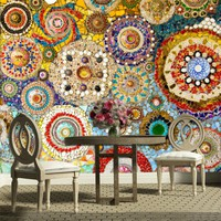 Customized large mural mosaic tile brick pattern American retro abstract 3D wallpaper for living room TV backdrop 3d wall paper