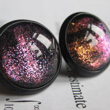 Plasma - Earring studs - science jewelry - science earring - galaxy jewelry - physics earrings - fake plugs - plug earrings - nebula stud