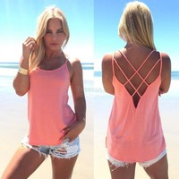 Fashion Lady Women Sexy Strap Cross Hollow Out Vest Pure Color Basic Casual Loose Tank Tops Camis 7_S = 5612374209