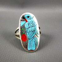 Vintage Zuni HM Coonsis Sterling Turquoise Coral Bluebird Ring Size 7