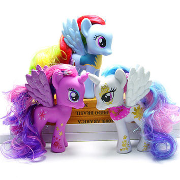 Pony Toys Horse in Action Figure 15CM With Wings Color Hair Vinyl Doll Toy Model PVC Doll For over 6 year Girls Gift Kids Toy