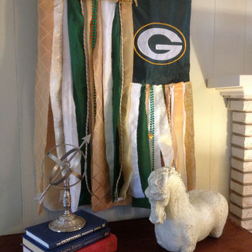 Green Bay Packers Wall Art - Flag - NFL Vintage Boho Inspired Repurposed Wall Art - Whimsical Novelty Sports Flag - garland