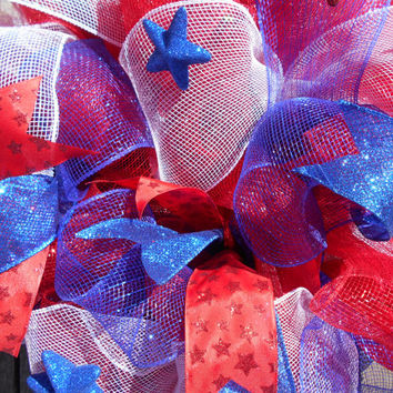 Fourth of July Wreath-Patriotic Wreath-American Wreath-Deco Mesh Wreath-Spring Wreath-Summer Wreath-Holiday Wreath-Red White Blue Wreath