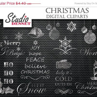 25% OFF Chalkboard Clipart Christmas, Digital Clip Art Pack with Holidays Wordart, Snowflakes, Bells, Mistletoe, Blackboard Decoration