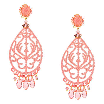 Swarovski Light Salmon Crystal Pendant Earrings by DUBLOS