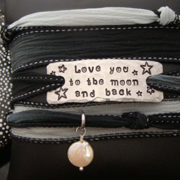"""D2E silk yoga wrap bracelet with hand stamped """"Love you to the moon and back"""" with freshwater pearl gemstone, magnetic clasp"""