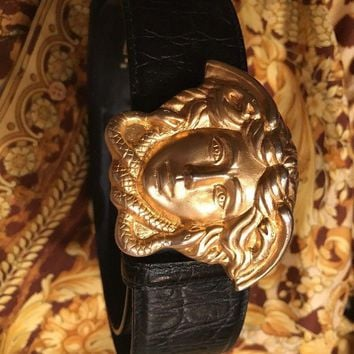 GIANNI VERSACE SCULPTED MEDUSA LEATHER BELT Gold/Bk 75/30 937 Italy Unisex