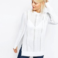 ASOS | ASOS Jumper with Mesh Detail in Structured Yarn with Side Splits at ASOS