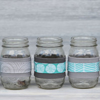 Fabric-Wrapped Mason Jar / Aqua and Gray, Choose Your Style / Mason Jar Centerpieces, Desk Accessories, Home Decor, Wedding Decor