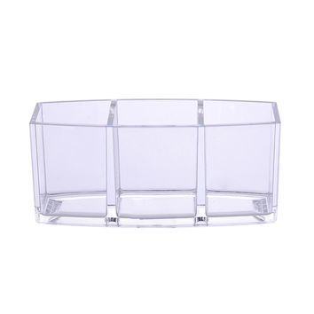 1Pcs 3 section Clear Acrylic Makeup Brush Organizer