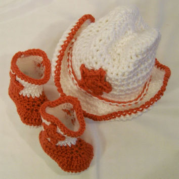 Baby Boys Cowboy Gift Set in Crochet, Western Cowboy, White and Rust Orange Cowboy Boots and Hat, #55