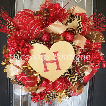 Valentine's Wreaths, Valentine's Day Wreath, Front door wreath, wreath for door, Heart Wreaths, Valentine's Decoration, Monogram Wreaths