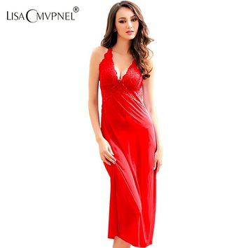 Lisacmvpnel Long Style Lace Sexy Women Nightgown Blackless Spaghetti Strap  Female Nightdress