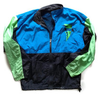 90s Windbreaker - Neon Windbreaker - Asics Brand Light Jacket - 80s Windbreaker - Spring Jacket