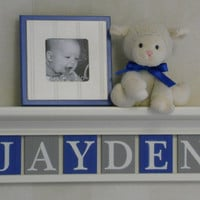 "Blue and Grey Baby Boy Nursery Decor 24"" Linen (Off White) Shelf With 6 Letter Wooden Tiles Painted Gray and Blue - JAYDEN"