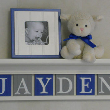 """Blue and Grey Baby Boy Nursery Decor 24"""" Linen (Off White) Shelf With 6 Letter Wooden Tiles Painted Gray and Blue - JAYDEN"""