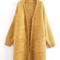 Yellow Pocket Open Front Mohair Blend Longline Cardigan