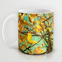 Art Coffee Cup Mug A Different Perspective photography home decor Java Lovers mustard yellow photo abstract tree green aqua blue sky orange