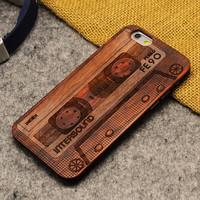 Tapel Wood Case Retro Wooden New Cover Carving flower Patterns Wood Slice Plastic Edges Back Cover for Iphone 6 case iPhone 6 Plus