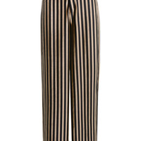 'Postpone' Black + Gold Velvet Stripe Wide Leg Trousers - Mistress Rocks