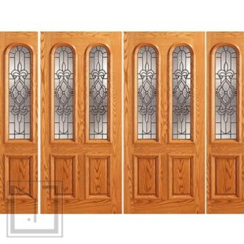 Pre-hung Mahogany Arch Twin Lite Entry Double Door Two Sidelites