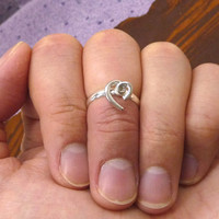 A tiny silver plated heart mult-task ring, above knuckle ring,adjustable finger ring,stackable ring, toe ring, little finger ring