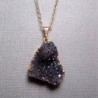 Deep Abyss Natural Druzy Purple Amethyst Necklace - Drusy - Geode - Crystal - Long - 14k Gold Filled Optional