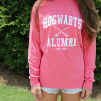 Harry Potter Clothing Hogwarts Alumni Long Sleeve Watermelon Pocket Tee Comfort Colors Unisex Adults