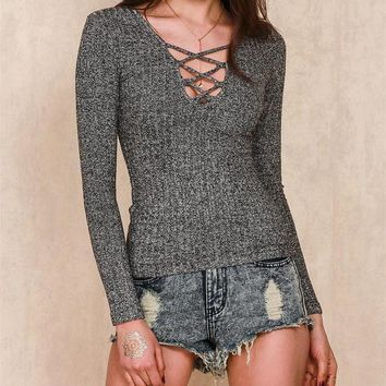 DCCK6HW V-Neck Strappy Tight knit Sweaters