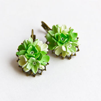 Earrings, light green, Jewelry, vintage accessories, earrings with flowers, ornament for the ears
