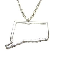 Silver Toned Connecticut State Map Outline Pendant Necklace [Jewelry]