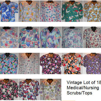 Vintage 80s Wholesale Lot of Scrub Tops Medical Scrubs 18 Floral Animal Print Shirts Kawaii Cute Nurse 1 Free