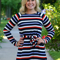 Long Sleeve Stripe Shift Dress