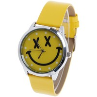 Wholesale Quartz Watch with Dots Round Dial Leather Watchband for Women (Pink) (YELLOW), Women's Watches - Rosewholesale.com