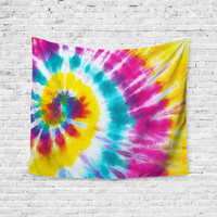 Sunshine Tie Dye Rainbow Yellow Blue Purple Trendy Boho Wall Art Home Decor Unique Dorm Room Wall Tapestry Artwork