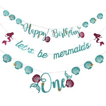 Let's Be Mermaids Baby Shower Party  Nautical Theme Blue Balloons Banner Photo Booth Happy Birthday Party Decorations Kids Favor
