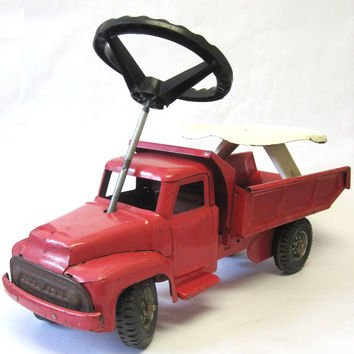 Buddy L Sit-N-Ride Vintage Metal Toy Truck, 1960s Red Toy Dump Truck