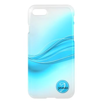 Ocean Blue Modern Waves Monogram iPhone 8/7 Case