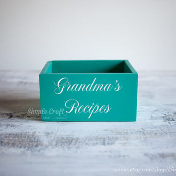 Recipe cards box 3x5 Turquoise recipe box bridal shower recipe box wooden recipe card box 4x6 memory recipe box wooden recipe cards holder