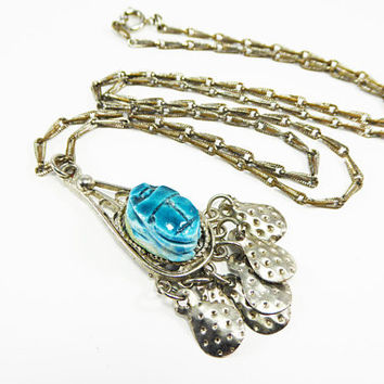 Egyptian Revival Scarab Pendant & Silver Tone Chain Necklace Blue Scarab Beetle Dangling Metal Teardrops Vintage 1960s 1970s BOHO Jewelry