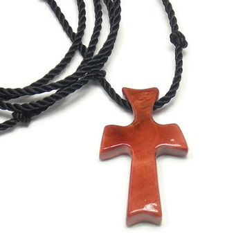 Wooden Cross Pendant -  Carved African Pink Ivory Wood