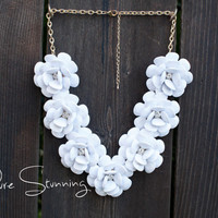 Flower Necklace in White - Rose Necklace - J. Crew Inspired Rosette Necklace