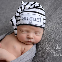 Baby boy hat- personalized name- newborn- hospital hat- photo prop- knot hat -infant beanie cap- skull cap