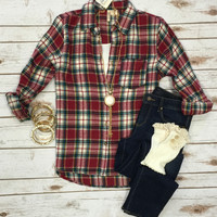 Stories by the Fire Plaid Flannel Top: Burgundy/Cream