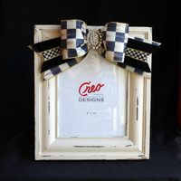 Handmade Wooden 8x10 Picture Frame with Bow and Bling Mackenzie Childs Ribbon Wedding Gift