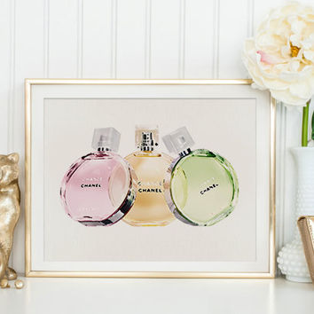 CHANEL CHANCE Perfume Bottle Chanel Perfume Fashion Illustration Fashionista Coco Chanel Print Perfume Bottle Modern Women Perfume Full Set