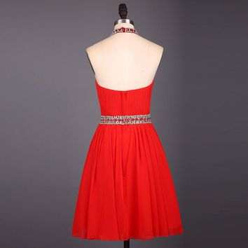 Red Beading Halter Above Knee Chiffon Short Cocktail Dresses Mini Off The Shoulder Cocktail  Dresses